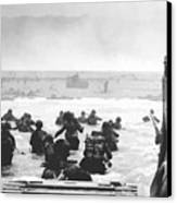 Storming The Beach On D-day  Canvas Print by War Is Hell Store