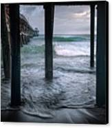 Stormy Pier Canvas Print by Gary Zuercher
