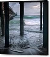 Stormy Pier Canvas Print by Gary Zuercher