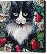 Strawberry Lover Cat Canvas Print by Natalie Holland
