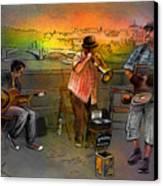 Street Musicians In Prague In The Czech Republic 03 Canvas Print by Miki De Goodaboom