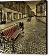 Street Seat Canvas Print by Evelina Kremsdorf