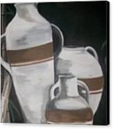 Striped Water Jars Canvas Print by Trudy-Ann Johnson