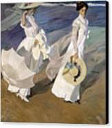 Strolling Along The Seashore Canvas Print by Joaquin Sorolla y Bastida