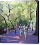 Strolling In Central Park Canvas Print by Merle Keller