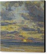 Study Of The Sky With Setting Sun Canvas Print by Eugene Louis Boudin