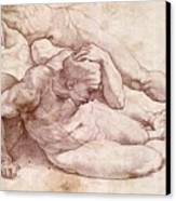 Study Of Three Male Figures Canvas Print by Michelangelo