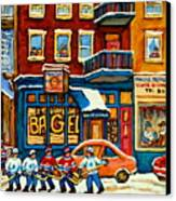 St.viateur Bagel Hockey Montreal Canvas Print by Carole Spandau