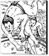 Sumo Wrestlers Canvas Print by Aloysius Patrimonio