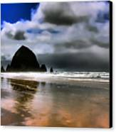 Sun Shining On Haystack Rock Canvas Print by David Patterson
