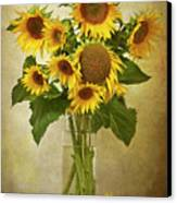 Sunflowers In Vase Canvas Print by © Leslie Nicole Photographic Art