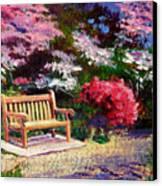 Sunny Bench Plein Aire Canvas Print by David Lloyd Glover