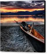 Sunrise Boat Canvas Print by Matt Hanson