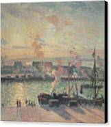 Sunset At Rouen Canvas Print by Camille Pissarro