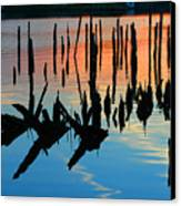 Sunset In Colonial Beach Virginia Canvas Print by Clayton Bruster