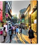 Sunset On The Streets Of Seoul Canvas Print by Michael Garyet