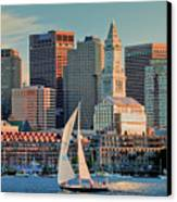 Sunset Sails On Boston Harbor Canvas Print by Susan Cole Kelly