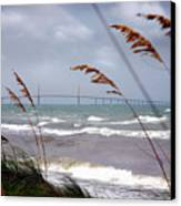 Sunshine Skyway Bridge Viewed From Fort De Soto Park Canvas Print by Mal Bray