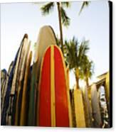 Surfboards At Waikiki Canvas Print by Dana Edmunds - Printscapes