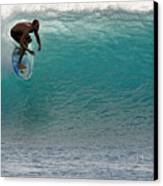 Surfer Dropping In The Blue Waves At Dumps Maui Hawaii Canvas Print by Pierre Leclerc Photography