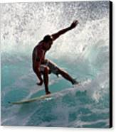 Surfer Slashing The Blue Waves At Dumps Maui Hawaii Canvas Print by Pierre Leclerc Photography