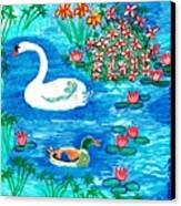 Swan And Duck Canvas Print by Sushila Burgess