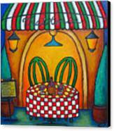 Table For Two At The Trattoria Canvas Print by Lisa  Lorenz