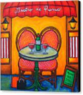 Table For Two In Paris Canvas Print by Lisa  Lorenz