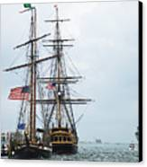 Tall Ships Hms Bounty And Privateer Lynx At Peanut Island Florida Canvas Print by Michelle Wiarda