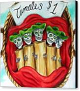 Tamales One Dollar Canvas Print by Heather Calderon