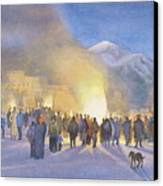 Taos Pueblo On Christmas Eve Canvas Print by Jane Grover