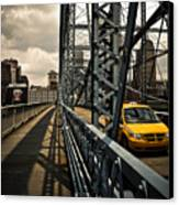 Taxi Crossing Smithfield Street Bridge Pittsburgh Pennsylvania Canvas Print by Amy Cicconi