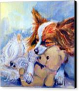 Teddy Hugs - Papillon Dog Canvas Print by Lyn Cook