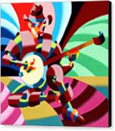 The Abstract Futurist Cowboy Banjo Player Canvas Print by Mark Webster
