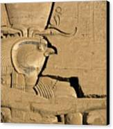 The Ancient Egyptian God Horus Sculpted On The Wall Of The First Pylon At The Temple Of Edfu Canvas Print by Sami Sarkis