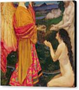 The Angel Offering The Fruits Of The Garden Of Eden To Adam And Eve Canvas Print by JBL Shaw
