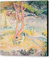 The Beach At St Clair Canvas Print by Henri-Edmond Cross