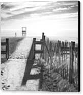 The Beach In Black And White Canvas Print by Dapixara Art