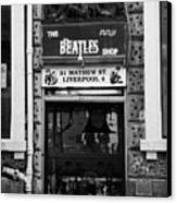 The Beatles Shop In Mathew Street In Liverpool City Centre Birthplace Of The Beatles Merseyside  Canvas Print by Joe Fox
