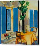 The Blue Shutters Canvas Print by Elise Palmigiani