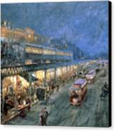 The Bowery At Night Canvas Print by William Sonntag