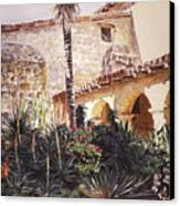 The Cactus Courtyard - Mission Santa Barbara Canvas Print by David Lloyd Glover