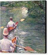 The Canoes Canvas Print by Gustave Caillebotte