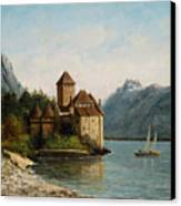 The Castle Of Chillon Evening Canvas Print by Gustave Courbet