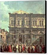 The Doge Visiting The Church And Scuola Di San Rocco Canvas Print by Canaletto