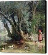 The Duck Pond Canvas Print by Eduard Heinel