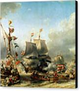 The Embarkation Of Ruyter And William De Witt In 1667 Canvas Print by Louis Eugene Gabriel Isabey