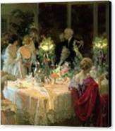 The End Of Dinner Canvas Print by Jules Alexandre Grun