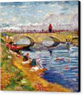 The Gleize Bridge Over The Vigneyret Canal  Canvas Print by Vincent van Gogh