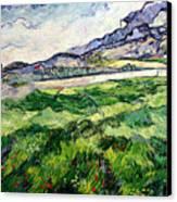 The Green Wheatfield Behind The Asylum Canvas Print by Vincent van Gogh
